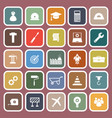 engineering flat icons on red background vector image