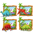 Four scenes of dinosaurs by the lake vector image
