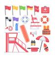 lifeguard equipment flat icons set vector image