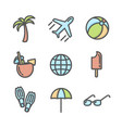 summer vacation colored icons set 02 vector image