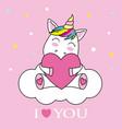 unicorn hugging a heart vector image