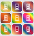 Door icon sign Nine buttons with bright gradients vector image