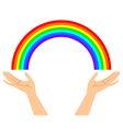 hands with rainbow vector image