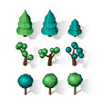 isometric tree set landscape constructor vector image