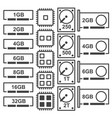 Icons for computer chips vector image