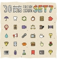 30 Colorful Doodle Icons Set 7 vector image vector image