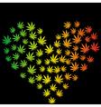 Heart made of marijuana leaves vector image vector image