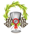A big grey trophy with a ribbon vector image