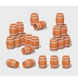 Cube World Wooden barrels vector image