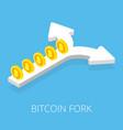bitcoin fork split arrow concept on blue vector image