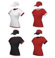 female blank uniform polo and baseball cap vector image
