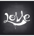 Love text design Hand drawn word on blackboard vector image