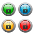Open lock icon on glass buttons vector image