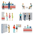 People in a bank interior flat icons set vector image