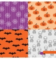 Seamless backgrounds of Halloween-related objects vector image vector image