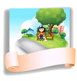 A girl at the bench with her pet at the back of an vector image