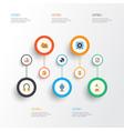 music flat icons set collection of karaoke dj vector image