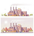 low poly 2d factory vector image