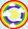 Sky background with clouds sun and rainbow vector image