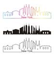 New York skyline linear style with rainbow vector image