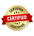 certified 3d gold badge with red ribbon vector image