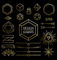 Element set gold hipster outline lettering label vector image