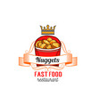 fast food restaurant label with chicken nuggets vector image