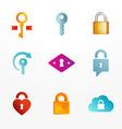 logo icon set based on key and secure lock symbols vector image