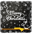Merry christmas message written on the black vector image