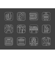 White line railway icons collection vector image