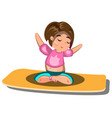 Young woman sitting in yoga lotus pose vector image