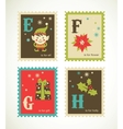 Christmas retro alphabet with cute icons vector image vector image
