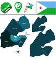 Djibouti map with named divisions vector image