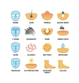 Skin types care and cosmetic icons vector image