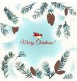 Christmas card with bird snow and fir vector image vector image