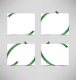 White card with green ribbons vector image vector image