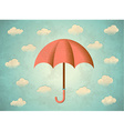 Aged card with umbrella vector image vector image