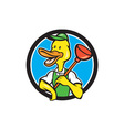 Duck Plumber Holding Plunger Circle Cartoon vector image vector image