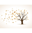 Gold Autumn Abstract Tree shaken by Wind vector image