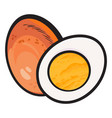 boiled peeled chicken egg whole and cut in half vector image