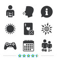 gamer icons board games players vector image