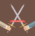 Hand fighting with swords vector image