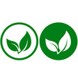 icon with green leaf vector image