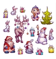 Set of New Year Merry Christmas vector image