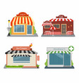 Shop cafe ice-cream store pharmacy set of vector image