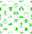 soccer football icons seamless green icons pattern vector image