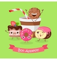 Bon Appetit Funny Cartoon Characters Banner vector image