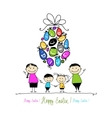 Easter postcard with family for your design vector image