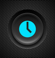 black button with blue timer sign on carbon vector image vector image
