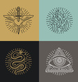 set of tattoo styled icons vector image